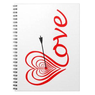 Cuaderno Corazón amor blanco con flecha