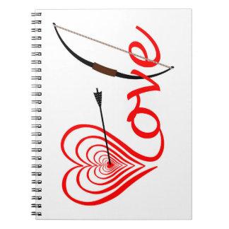 Cuaderno Corazón amor blanco con flecha y arco