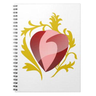 Cuaderno corazón de la fresa