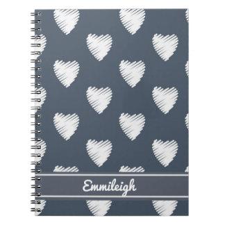 Cuaderno Corazones blancos personalizados en azules marinos