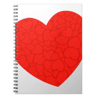 Cuaderno Corazones rojos
