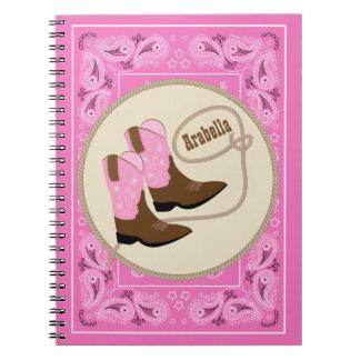 Cuaderno Cowgir rosado occidental patea el pañuelo rojo