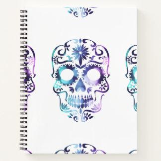 Cuaderno Cráneo gótico enrrollado del azúcar en neblina