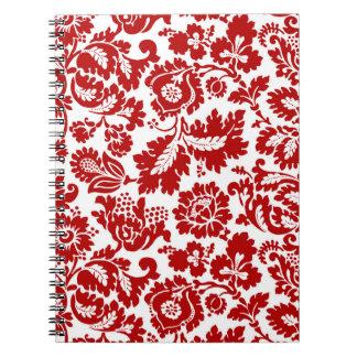 Cuaderno Damasco floral de William Morris, de color rojo
