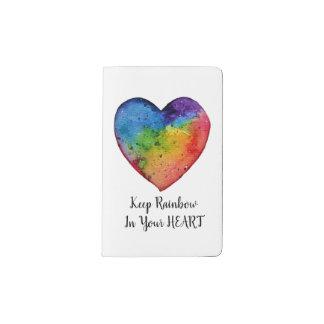 Cuaderno De Bolsillo Moleskine Corazón lindo del arco iris de la acuarela