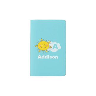 Cuaderno De Bolsillo Moleskine El monograma feliz lindo de la sol de Kawaii añade