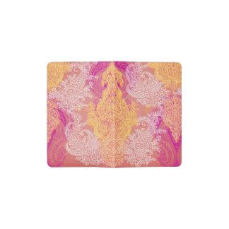 Cuaderno De Bolsillo Moleskine Estampado de flores anaranjado rojo del paño de