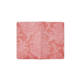 Cuaderno De Bolsillo Moleskine Estampado de flores del paño del coral rojo de