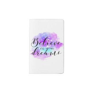 Cuaderno De Bolsillo Moleskine La acuarela cree en su cita de los sueños