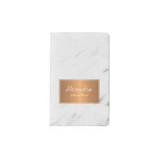 Cuaderno De Bolsillo Moleskine Mármol blanco con encanto elegante de la etiqueta