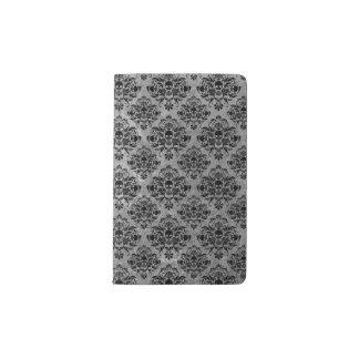 Cuaderno De Bolsillo Moleskine Mini gris del negro del modelo del damasco del