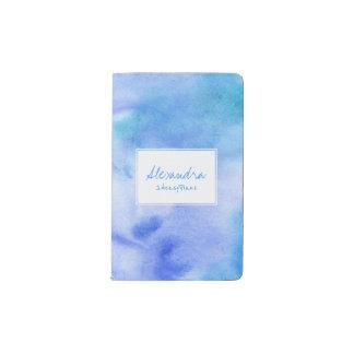 Cuaderno De Bolsillo Moleskine Pintado a mano del azul de océano salpicado con la