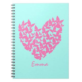 Cuaderno de la acuarela del amor del rosa del