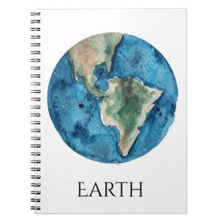 Cuaderno de la acuarela del planeta de la tierra