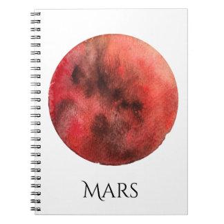 Cuaderno de la acuarela del planeta de Marte