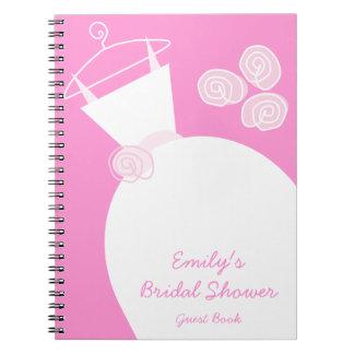 """Cuaderno de la """"ducha nupcial"""" del rosa del vestid"""