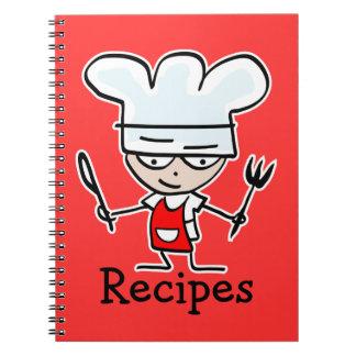 Cuaderno de la receta con el cocinero lindo del