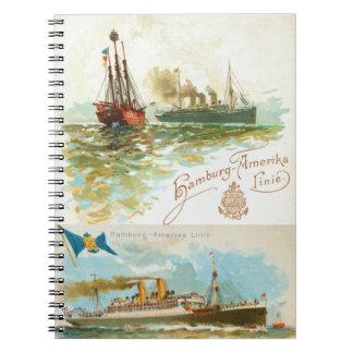 Cuaderno de los buques de vapor del vintage