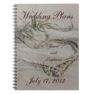 Cuaderno de los planes de la playa y del boda del