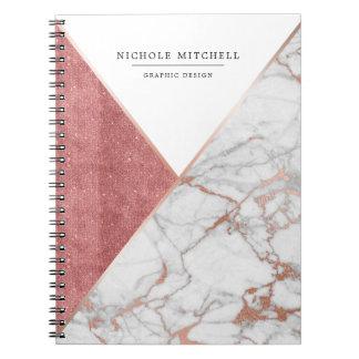 Cuaderno de mármol chispeante geométrico del rosa