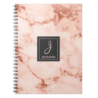 Cuaderno de mármol subió oro del monograma cuaderno