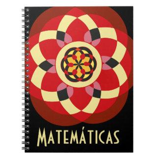 Cuaderno de matemáticas con dibujos geométricos