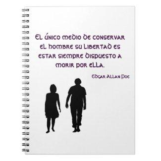 Cuaderno de notas con frase de Edgar Allan Poe