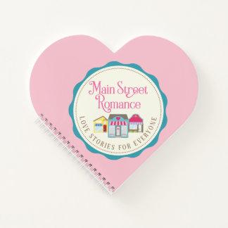 Cuaderno de notas romántico del corazón de la