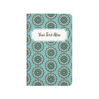 Cuaderno De Viaje Estampado de flores retro estilizado verde azulado