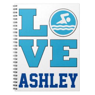 Cuaderno del amor de la nadada para los nadadores