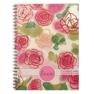 Cuaderno del amor del capullo de rosa