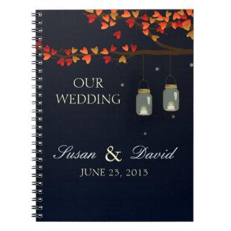 Cuaderno del boda del roble del tarro de albañil