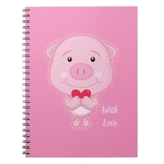 Cuaderno del cerdo de la tarjeta del día de San