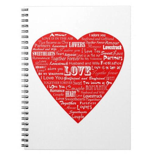 Cuaderno del collage de la palabra del amor