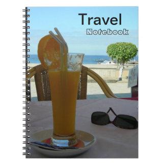 Cuaderno del destino del viaje del zumo de naranja