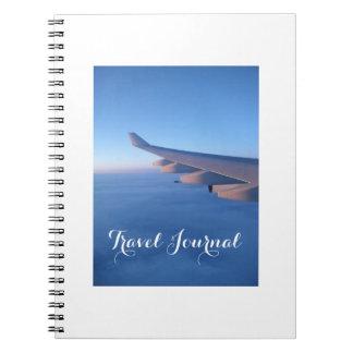 Cuaderno del diario del viaje del vuelo del cielo