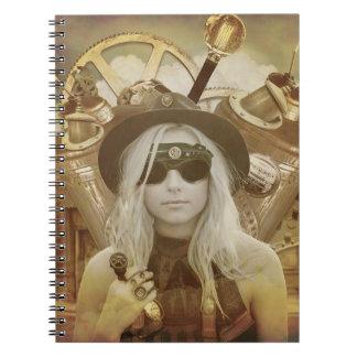 Cuaderno del Hardcover del chica de Steampunk