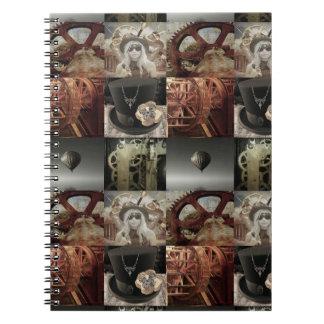 Cuaderno del Hardcover del collage de Steampunk