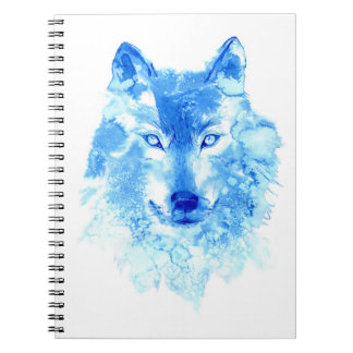 Cuaderno del lobo del invierno de la acuarela