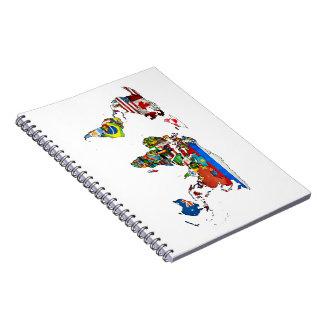 Cuaderno del mapa de las banderas del mundo
