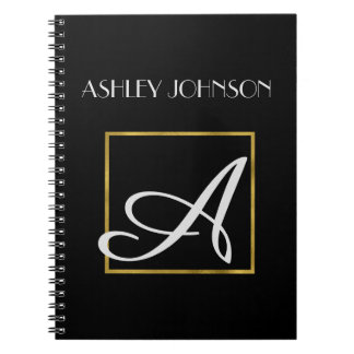 Cuaderno del monograma de la hoja de oro para la cuaderno