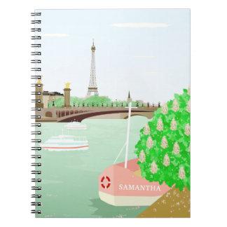 Cuaderno del paisaje urbano de París del monograma