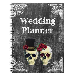 Cuaderno del planificador del boda del cráneo de