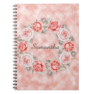 Cuaderno Diario floral rosado de la guirnalda de