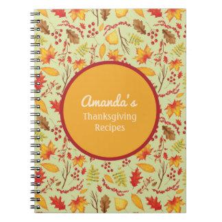 Cuaderno Diario personalizado de las hojas de la caída/de