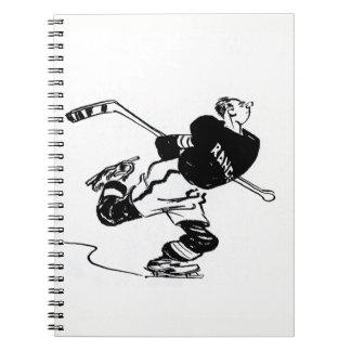 Cuaderno Dibujo animado del jugador de hockey
