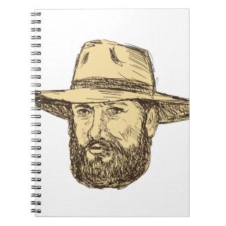 Cuaderno Dibujo barbudo de la cabeza del vaquero