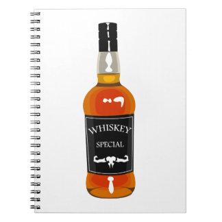 Cuaderno Dibujo de la botella de whisky aislado en