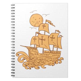 Cuaderno Dibujo de la luna del velero de Caravel
