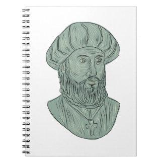 Cuaderno Dibujo del busto del explorador de Vasco da Gama